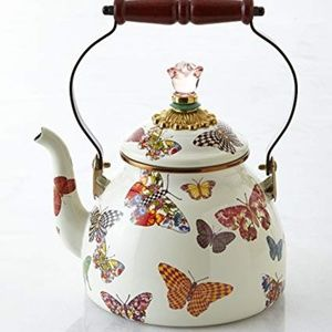 Mackenzie Childs Teapot Tea Kettle Butterfly NEW